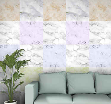 Add the textural appearance of colorful layed up stones on your wall with this colorful marble effect wallpaper. It is made of high quality material.