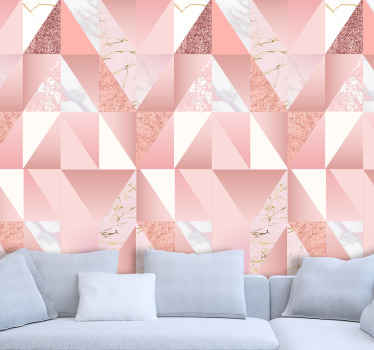 Realistic looking marble textured wallpaper with geometric pattern assembly. Easy to apply and of high quality material.
