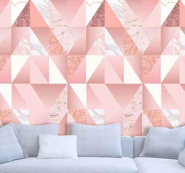 幾何学模様のアセンブリを備えたリアルな大理石のテクスチャード壁紙。適用が簡単で高品質の素材。