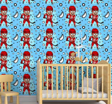 Featured hockey players wallpaper design for teenagers and kid's bedroom decoration. It is easy o apply and made of high quality material.