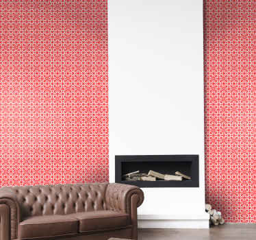 Decorative Slavic patterned red wallpaper design to give an ornamental and vintage touch to your space. It is original and easy to apply.