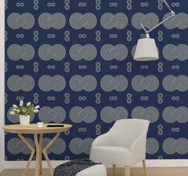 Grey and blue colour wallpaper design made with infinity symbols. The grey symbols design are featured all over it blue background.