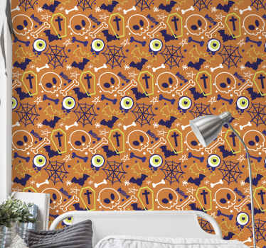 Scary Halloween featured orange wallpaper design  containing the drawings of graves, bones, skulls, stars and more. Easy to apply and of quality.