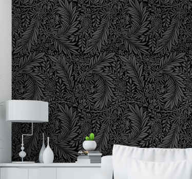 Black abstract pattern ornamental wallpaper design. The design contains plants and flower patterned design with horrific Halloween impression.