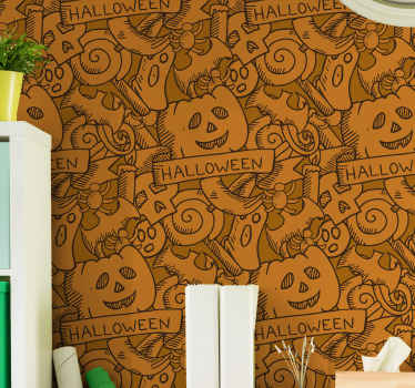 Orange background Halloween wallpaper design featured with the drawing bats, pumpkins and candies. Easy to apply and of high quality.