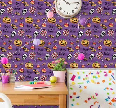 Trick or treat with pumpkins Halloween wallpaper design for children bedroom decoration.Easy to apply and of high quality.