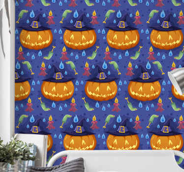 A happy decorative Halloween wallpaper to decorate the bedroom of children, it has the design of pumpkin, fire flames and other features.