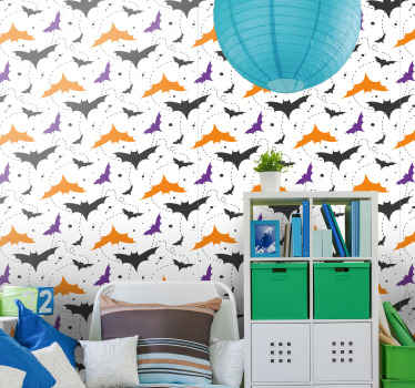 A decorative Halloween wallpaper design made with orange, purple and black bats flying. It is easy to apply and of good quality.