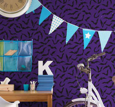 A decorative Halloween wallpaper design made with purple background with black flying bats. Easy to apply and of high quality.