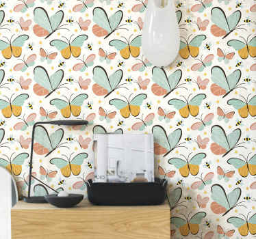 Decorative insect wallpaper for children. The design consist of amazing prints of double coloured butterflies and bees. Easy to apply and durable.