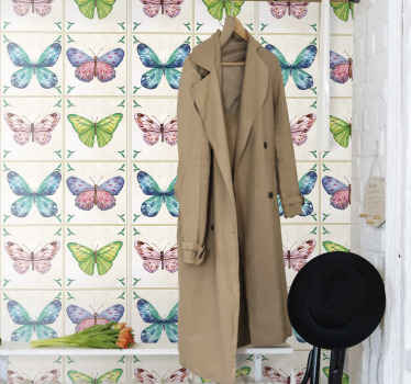 Wallpaper with butterflies tiles. It is a perfect decoration for holl in your house. Made of hight quality resistant material, easy to apply.