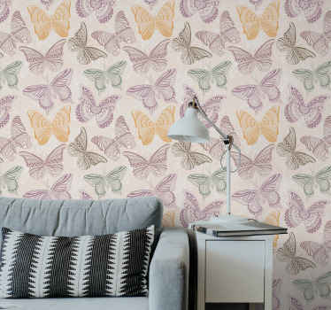 Decorative colorful butterflies wallpaper. The design is decorative for living room and other space.  It contains different colours of butterflies.