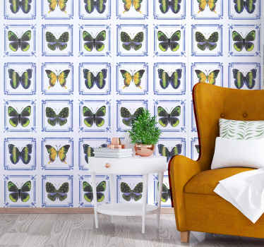 Colorful butterflies tile pattern wallpaper living room. The design is decorative on other space space as well. It is original and highly durable.