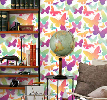 3D gradient butterflies wallpaper. This design would make any space applied on appear attractive and  lovely and you would be feel satisfied with it.