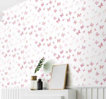 Children bedroom wallpaper printed with little pink butterflies on white background. Improve your child's space in an amazing way with our design.
