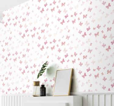 Roze vlinders behang bedrukt met roze vlinders op een witte achtergrond. Verbeter de ruimte van uw kind op een geweldige manier met ons ontwerp.