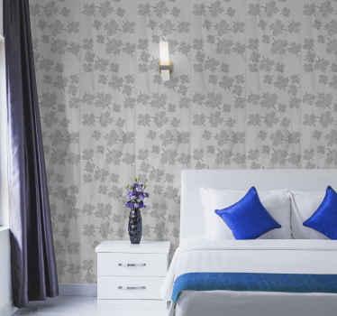 Un papier peint élégant avec des feuilles canadiennes grises laissera votre chambre à coucher élégante sans efforts inutiles et sans poches vidées. Application facile.