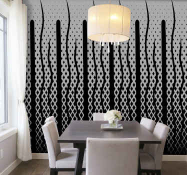 Realistic black and white featured wallpaper for home and office decoration. It is easy to apply and made of high quality material.