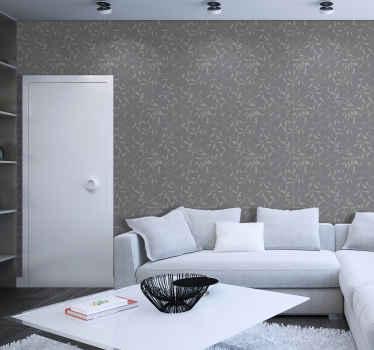 Papel pintado salón con motivos ornamentales imitando hojas en rama de árbol. Diseño de moderno perfecto para salón ¡Envío a domicilio!