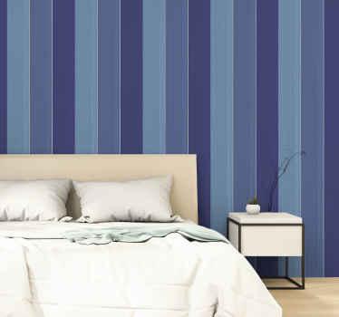 Superbe papier peint en bois qui présente des planches de bois verticales dans différentes nuances de bleu. +10 000 clients satisfaits.