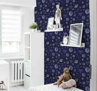 Lovely designed wallpaper for children bedroom containing different space elements. It is original and really easy to apply.