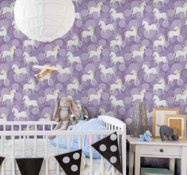 Colorful unicorn children wallpaper from our collection of children unicorn pattered wallpaper for bedroom. It is original and easy to apply.