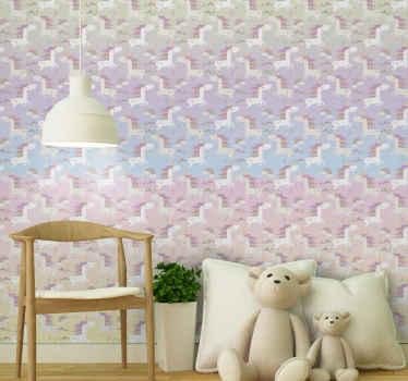 Deje que el dormitorio de su hijo con este papel pintado con estampado de unicornio para niños. Es original y fácil de aplicar.