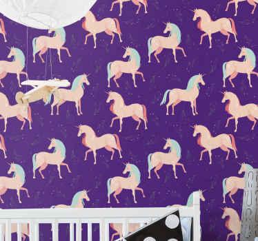 Elegante papel pared infantil con estampado de unicornios para dormitorio infantil. Elige los rollos que desees. Alta calidad ¡Envío exprés!