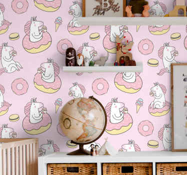 Our decorative pink unicorn illustration pattern wallpaper for your child's room. Contains prints of unicorns having a swell time with ice-creams.