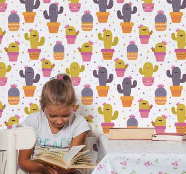 Estampas coloridas de papel de parede de planta de cacto. Um projeto adequado para decorar o espaço do quarto das crianças de uma forma divertida e interessante.