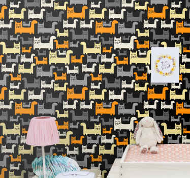 Children wallpaper with cat pattern. The design host various prints of cats walking, they are featured in different colours. Made with of best quality