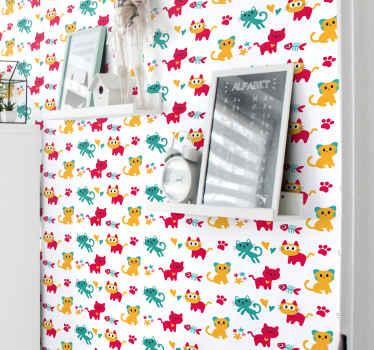 Personalice el dormitorio de su hijo con nuestro colorido papel pintado dormitorio infantil con dibujos de gatos, espinas de pescado y más