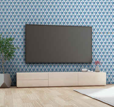A 3D luxury wallpaper patterned with geometric textured shape prints in blue colour. It is suitable for living room, office and other space.