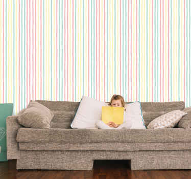 How about refurbishing your home with this irregular pastel striped wallpaper. A great decorative wallpaper idea for children bedroom and other space.