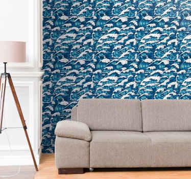 装飾的な自然の海の波の風景のパターン化された壁紙のデザイン。それは確かに素晴らしい印象であなたの家のスペースを引き継ぐでしょう。