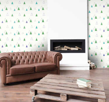 Decorative Geometric shape wallpaper design that could be a great wallpaper idea to decorate your kid's bedroom and other space.