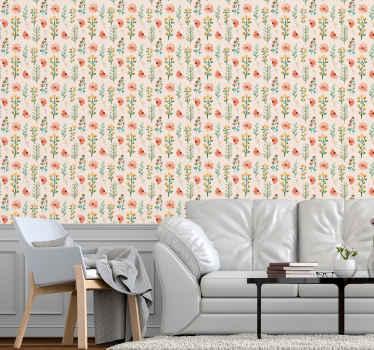 Un papier peint coloré de différentes plantes pour décorer les murs de votre maison. Il peut être appliqué dans n'importe quel espace de votre maison et il est facile à appliquer.