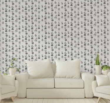 독특한 방식으로 집 벽을 장식하는 그림 선인장 식물 벽지. 고품질 비닐 및 내성!