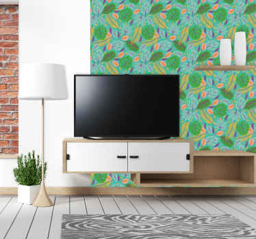 Colorful decorative  green leave pattern wallpaper suitable for a living room and other space. It is original and easy to apply.