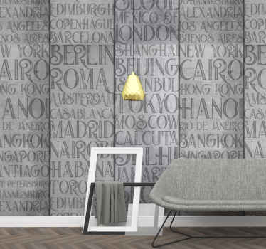 This concrete style wallpaper with the name of the cities around the world it's perfect to decorate your living room. Easy to apply.