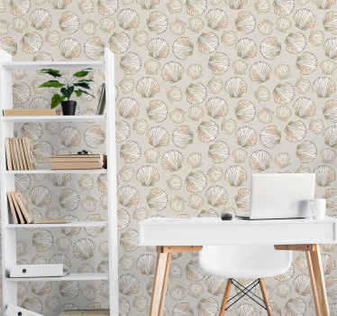 Cover the wall space of your living room with our vintage wallpaper design of seashells. The design contains various sheets of shells in beige color.