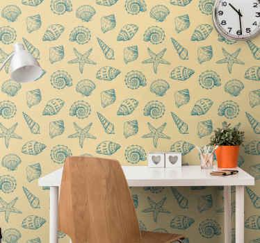 Dale una nueva vida a tu habitación sin tener que pintarla con nuestro original papel pintado animales con estampados de conchas marinas