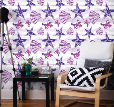 Purple wallpaper with seashells and starfish for any type of room in your house. Easy to apply on a wall and made of a high quality vinyl.