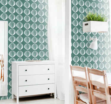 Blue wallpaper with retro seashells, perfect for decorating your dining room. Easy to apply and made of a high quality vinyl.
