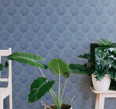 Blue wallpaper with seashells, perfect decoration for dining room. Made of high quality vinyl and easy to apply on a wall.