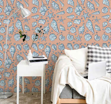 Let your home space space be an attraction sight with our amazing decorative different seashell prints wallpaper installed on the wall.