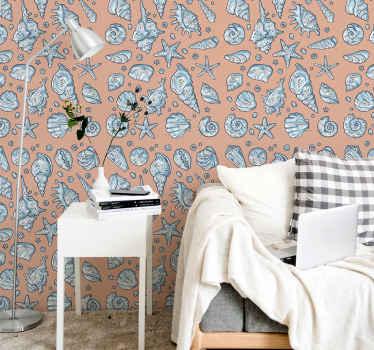 壁に取り付けられた驚くべき装飾的な異なる貝殻プリントの壁紙で、あなたの家のスペーススペースを魅力的な光景にしましょう。