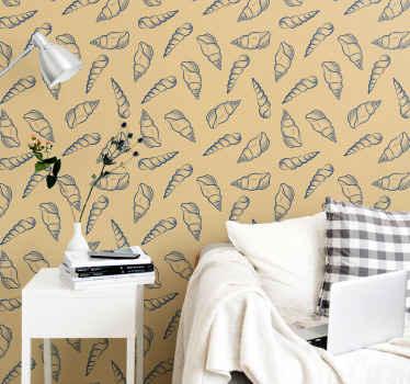 Ce papier peint à motifs de coquillages à texture vintage serait certainement une excellente idée pour votre tête de lit et votre salon.
