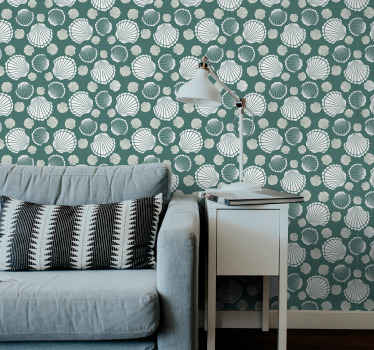 Seashell world Shell wallpaper to perfect your home space with a feel of luxury and comfort.. The design contains prints of small and large seashells.