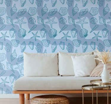 Papier peint à sticker de coquille incroyable pour le salon. La conception contient différents types d'impressions de coquillage sur un fond de couleur bleu uni.